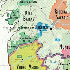 Detail of De Long's Wine Map of Spain  - Albarino wine country, Ribiero, and Ribiero Sacra in Spain  and  Vinho Verde in Portugal.