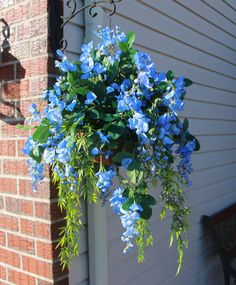 Silk Hanging Plant Blue Wisteria with Fern by SilkEleganceFlorals