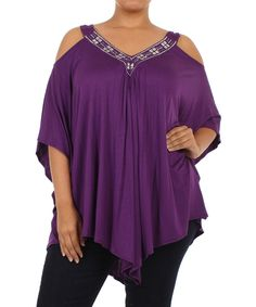 Look at this J-Mode USA Los Angeles Purple Embellished Cutout Top - Plus on #zulily today!