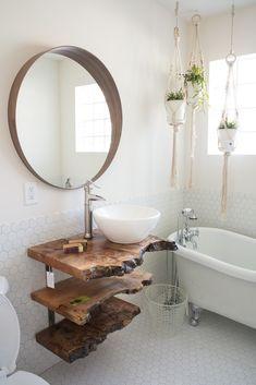 Mirror over log wall and backsplash to suit the shower - Home And Garden Bad Inspiration, Bathroom Inspiration, Log Wall, Live Edge Furniture, Antique Furniture, Bathroom Renos, Bathroom Ideas, Vanity Bathroom, Bathroom Shelves