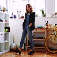 TV Presenter Angela Scanlon pairs her relaxed Gap overalls with a black tailored blazer to conquer a day of meetings.