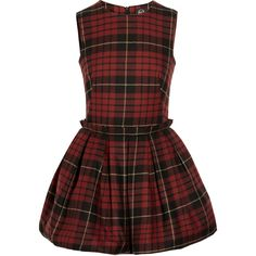 McQ Alexander McQueen Tartan wool puffball mini dress (87 KWD) ❤ liked on Polyvore featuring dresses, vestidos, платья, alexander mcqueen, party dresses, red fitted dress, going out dresses, pleated dress and red holiday party dress