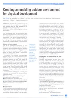 Creating an Enabling Outdoor Environment for Physical Development by jan white