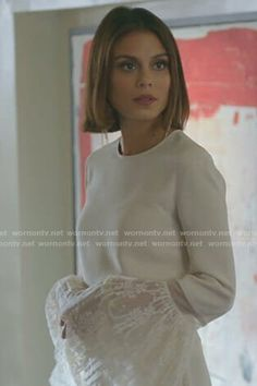 Cristal's white lace bell sleeve top on Dynasty.  Outfit Details: https://wornontv.net/86178/ #Dynasty