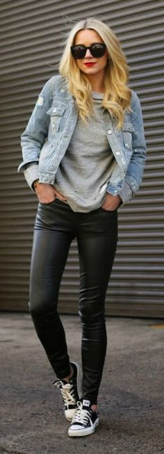 This cute denim jacket goes a treat with Blair Eadie's classic converse.   Leggings: Current/Elliott, Shoes: Converse, Bag: Mansur Gavriel, Denim Trucker: Marc by Marc Jacobs.