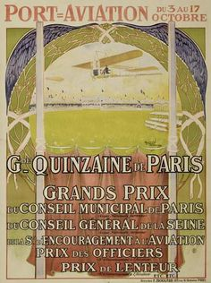 Grande Quinzaine de Paris - aviation - 1909 - illustration de Raymond Tournon -
