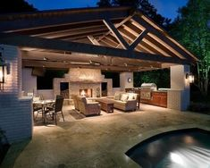 Pool House with Outdoor Kitchen Architectural Landscape Design