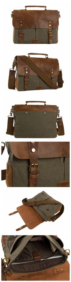 HANDMADE CANVAS LEATHER BRIEFCASE MESSENGER BAG SHOULDER BAG LAPTOP BAG