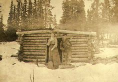 Mabel Meed and her brother-in-law, Richard Meed, in front of the Meed's log cabin at lower Lake Laberge, Yukon Territory, spring Old Pictures, Old Photos, Vintage Photos, Into The West, American Frontier, Native American History, American Indians, Le Far West, Down South