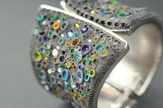 DROPS of COLOR- polymer clay cuff bangle bracelet - sparkling jewellery piece with stone effect