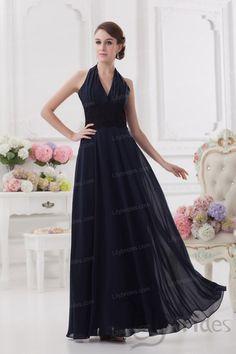 A-line V-neck Halter Satin Chiffon Floor Length Prom Dress