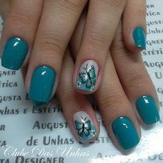 37 Cute Butterfly Nail Art Designs Ideas You Should Try - Nails - Nail Art Ideas Butterfly Nail Designs, Butterfly Nail Art, Colorful Nail Designs, Nail Art Designs, Nails Design, Blue Butterfly, Winter Nail Art, Winter Nails, Spring Nails