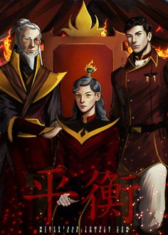 "The Legend of Korra's Final Book Countdown ""Fire is the element of power. The people of the Fire Nation have desire and will, and the energy and drive to achieve what they want."" Firelord Izumi, her son Iroh, and her father, Lord Zuko Avatar Airbender, Avatar Aang, Team Avatar, Iroh Ii, Avatar Series, Korrasami, Fire Nation, Fan Art, The Last Airbender"