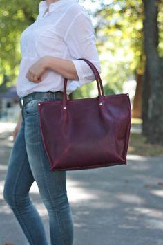 Women leather handbag Leather tote bag Large от ArtLeatherDesign