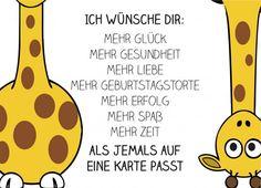 Humorvolle Geburtstagskarte mit mehr guten Wünschen, als auf eine Karte passen können :)