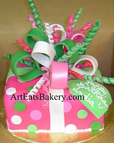 Pink, green and white unique creative birthday present cak… | Flickr