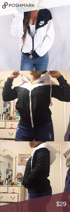 NIKE Black And White Windbreaker Small This is a black and white zippered up windbreaker from the brand NIKE and it's so comfortable and fashionable! This jacket was originally $40 Nike Jackets & Coats