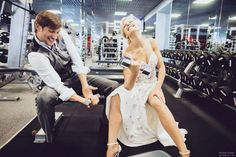 extraordinary wedding  photo shoot in gym