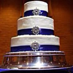 three-tier cake frosted in white and decorated with sapphire blue ribbons and accented with crystal brooches at the base of each tier Free Wedding, Wedding Book, Wedding Ideas, Wedding Things, Unique Weddings, Real Weddings, Royal Cakes, Ribbon Cake, Traditional Wedding Cake