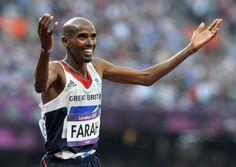 Mo Farah celebrates after winning the Olympic men's 5,000m final at the London 2012 Games. Photo: Martin Rickett/PA