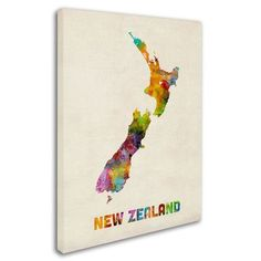 "Trademark Art ""New Zealand Watercolor Map"" by Michael Tompsett Graphic Art on Wrapped Canvas Size: 32"" H x 24"" W x 2"" D"