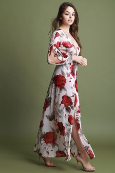00f7ed7b98 Shop Plunging Neck Double Slits Floral Romper Maxi Dress featuring a  semi-sheer fabric, plunging v-neckline, long sleeves with a cutout design,  high waisted ...