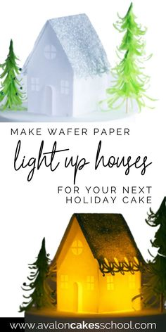 Add these wafer paper light up houses to your Christmas cakes this year! These edible houses are absolutely adorable and all you need is wafer paper, our house templates, and an Exacto knife to make these adorable glitter Christmas houses! Just don't use real fire under the wafer paper, use LED lights instead! You can also watch the full step by step video tutorial right on my blog. Avalon Cakes School, for intermediate and professional cake and cookie decorators, has hundreds of tutorials.