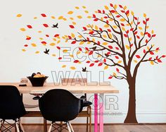 autumn tree with leaves mural - Google Search