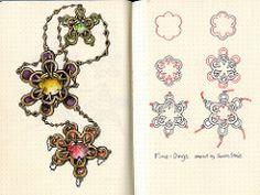 Fine-Dings Tangle Pattern (molossus, who says Life Imitates Doodles) Tags: zentangle zentangleinspiredart tanglepattern doodlegems rhodia journaling