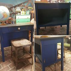 Antique Desk... such a great piece. Check out the bookshelf in the back.  #maisonstgermain #woodburyct #vintage #vintagestyle #forsale #vintagefurniture #paintedfurniture