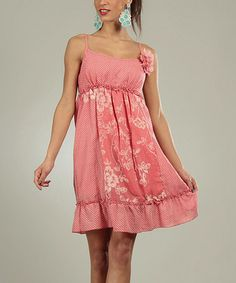 Another great find on #zulily! Pink Floral Summer Empire-Waist Dress by For Her #zulilyfinds