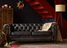 Abraham Junior Sofa and Monty Chair from George Tannahill & Sons - Beautiful large leather sofa ideas. Furniture Styles, Cool Furniture, Vintage Sofa, Large Sofa, Living Room Inspiration, Furniture Collection, Sofa Design, Love Seat, Couch
