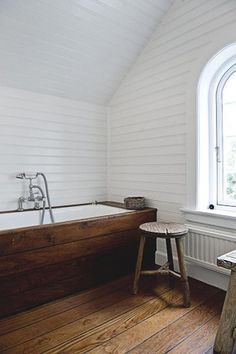 Wood plank foors and plank on the bathtub, wall and everywhere!