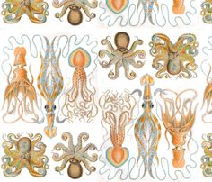 Squid Sandwich fabric by matthewbalon. Just ordered this to frame in my bathroom.