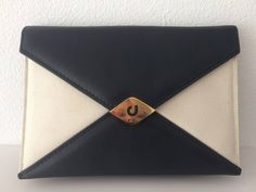 Vintage Charles Jourdan clutch, partybag, bag, darkblue leather with offwhite fabric by MORETHANVINTAGENL on Etsy