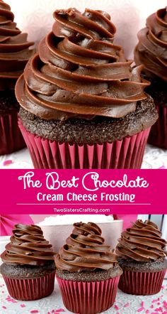 The Best Chocolate Cream Cheese Frosting is creamy, tangy, chocolate-y and super duper yummy. Homemade Frosting never tasted so good or was easier to make. Pin this great Frosting idea for later and us for more great Frosting Recipes! Frost Cupcakes, Cupcake Recipes, Cupcake Cakes, Dessert Recipes, Cupcake Frosting, Muffin Cupcake, Chocolate Frosting Recipes, Chocolate Cream Cheese Cupcakes, Homemade Cream Cheese Icing