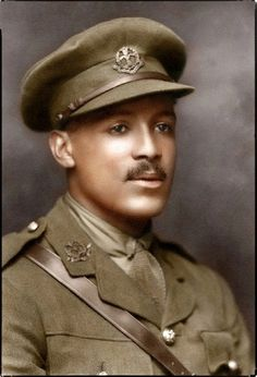 """Walter Tull, (1888-1918), was a British professional footballer. - In WW1 he  fought in the Battle of the Somme in 1916.-  He was commissioned as a Second Lieutenant on 30 May 1917 . - Tull fought in Italy in 1917–18, and was Mentioned in Despatches for """"gallantry and coolness"""" while leading his company of 26 men on a raiding party into enemy territory. - Returning to France in 1918, he was killed in action on March 25 during the Spring Offensive.  His body was never recovered."""