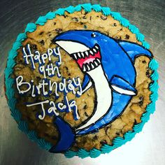 Happy shark cake Happy Shark, Shark Cake, Animal Cakes, Cupcake Cakes, Sugar, Cookies, Desserts, Food, Biscuits