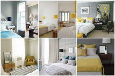 Bedroom inspiration - gray, yellow & turquoise