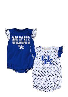 Kentucky Baby Blue Polka Fan Creeper