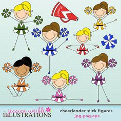 Cheerleader Stick Figures Cute Digital Clipart by JWIllustrations, $5.00