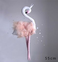 """Nearly Natural Décor 21"""" Flamingo Bird Swan Plush Stuffed Animal Toy,Hanging Decoration for Children's Room"""