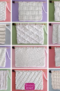 Enjoy this collection of favorite simple Knit Stitch Patterns with different combinations of simple knits and purl stitches. Beginning knitters can create over 21 textures and pattern designs with just these two basic knitting techniques. Knitting Stiches, Easy Knitting Patterns, Knitting Videos, Crochet Blanket Patterns, Crochet Stitches, Baby Knitting, Stitch Patterns, Free Knitting, Knitting Projects