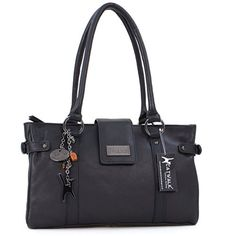 """Handtasche """"Martina"""" von Catwalk Collection - Schwarz - Große: B: 35 cm, H: 22 cm, T: 13 cm - http://herrentaschenkaufen.de/catwalk-collection-handbags/schwarz-handtasche-martina-von-catwalk-gr-sse-b-35"""
