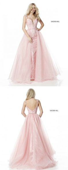 Sherri Hill Light Pink Blush Fitted Dress with Tulle Ballgown Skirt floral print Ypsilon Dresses SLC Utah Store Prom Pageant Evening Wear Formal Formalwear High School Dance Dresses Homecoming Sweethearts