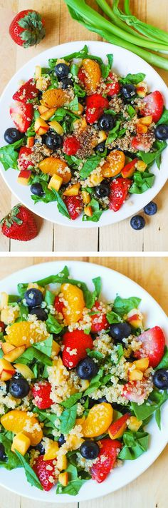 Quinoa salad with spinach, strawberries, blueberries, and peaches, in a homemade Balsamic vinaigrette dressing.
