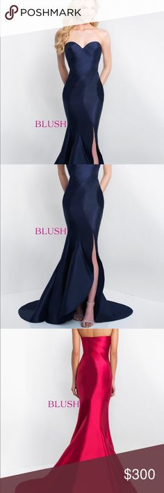Strapless Gown Strapless gown with asymmetrical style lines and hem. Front slit and train detail. By Blush.(red is for back view only)   Fabric: Mikado  Length: Color: Navy Style Number: C1063 Blush Dresses Prom