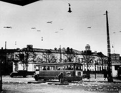 German planes drop propaganda over Copenhagen, Denmark, 1940.
