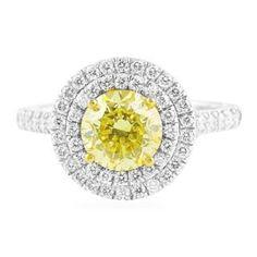 1.49 CT FANCY YELLOW DIAMOND WHITE GOLD ENGAGEMENT RING