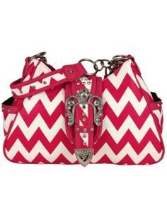 Hot Pink and White Chevron Buckle Shoulder Bag #chevron